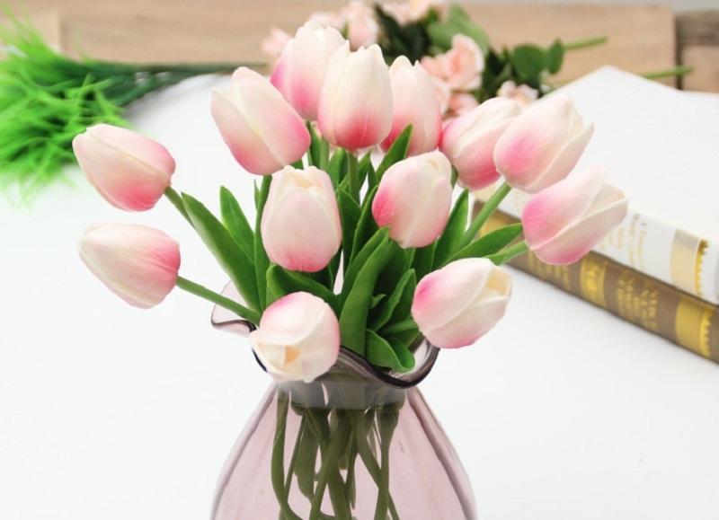 Hoa Tulip màu hồng tượng trưng cho tình yêu nhẹ nhàng, e ấp