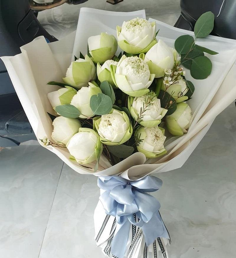 Hoa sen trắng mang vẻ thuần khiết, thanh cao
